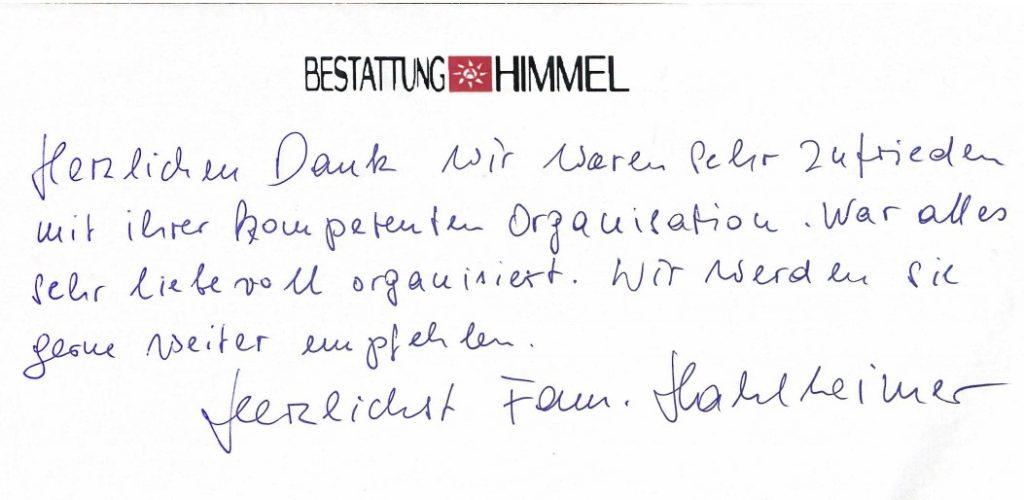 Danksagung: Bestattung in Wien